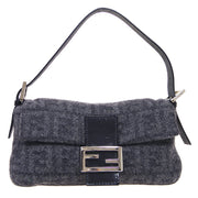 FENDI Zucca Pattern Baguette Hand Bag Gray Wool