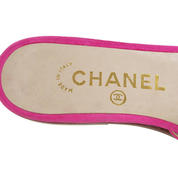 CHANEL Turnlock Shoes Sandals Pink Suede #36