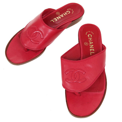CHANEL Shoes Sandals Red 35 1/2