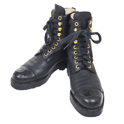 CHANEL Medium Boots Shoes Black #34 1/2 C
