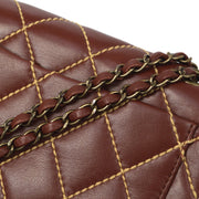CHANEL Wild Stitches Double Chain Shoulder Bag Brown