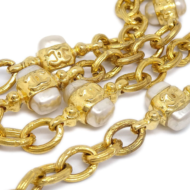 CHANEL 28 Triple CC Imitation Pearl Gold Chain Necklace