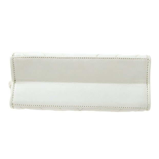 CHANEL V Stitch Fringe Shoulder Bag White