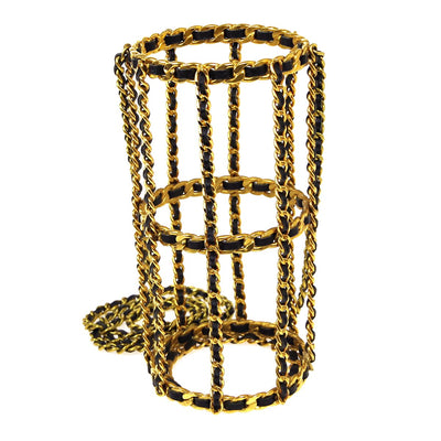 CHANEL Cylindrical Chain Shoulder Bag 94A Gold Black