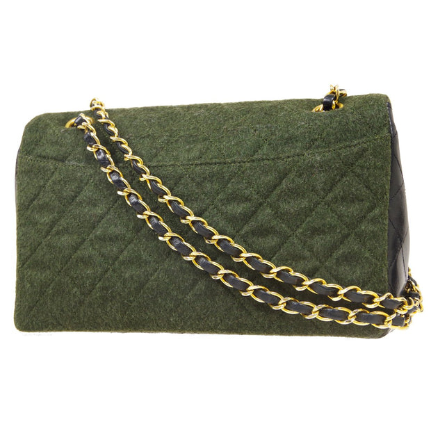 CHANEL Double Chain Shoulder Bag Bi-Color Wool Leather