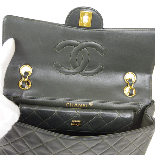 CHANEL Double Chain Shoulder Bag Dark Green