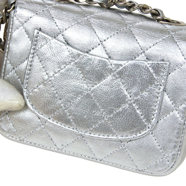 CHANEL Classic Flap Micro Bag Pouch Silver