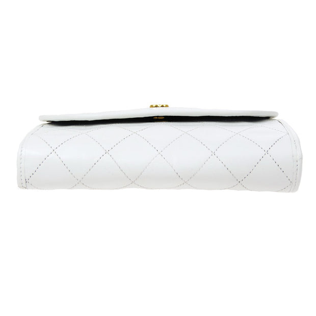 CHANEL Double Chain Shoulder Bag White
