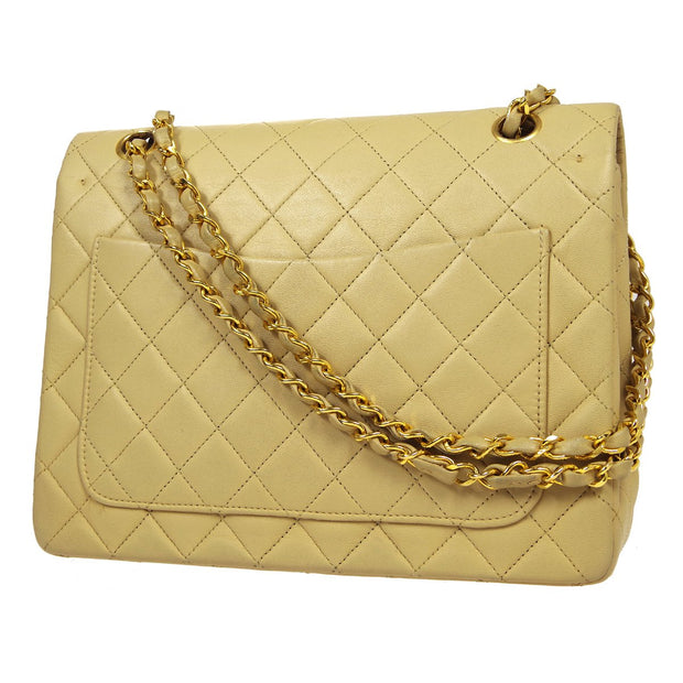 CHANEL Classic Double Flap Medium Chain Shoulder Bag Beige