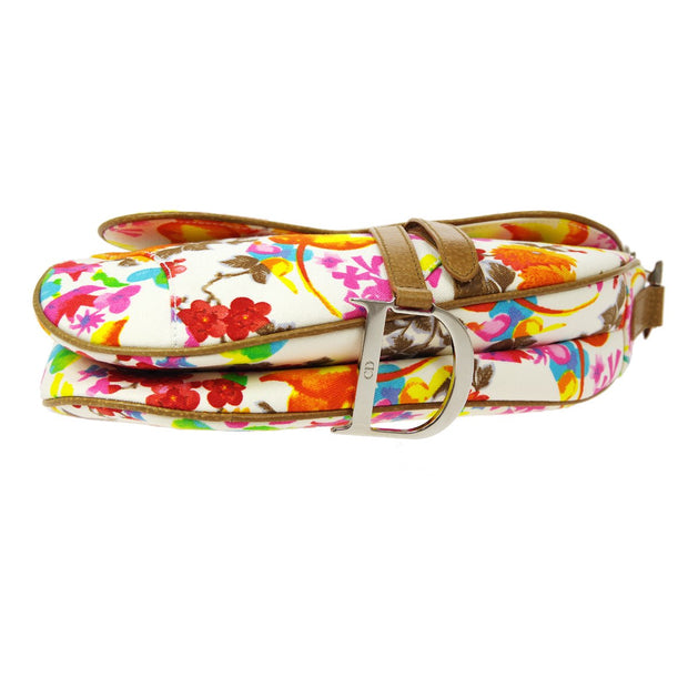 Christian Dior Flower Saddle Hand Bag White