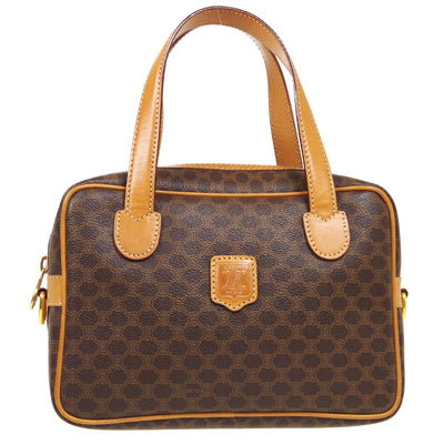 CELINE Macadam Pattern Hand Bag Brown