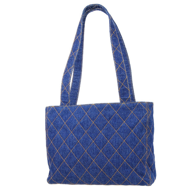 CHANEL Shoulder Tote Bag Indigo Denim