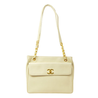 CHANEL Chain Shoulder Tote Bag Ivory Caviar Skin