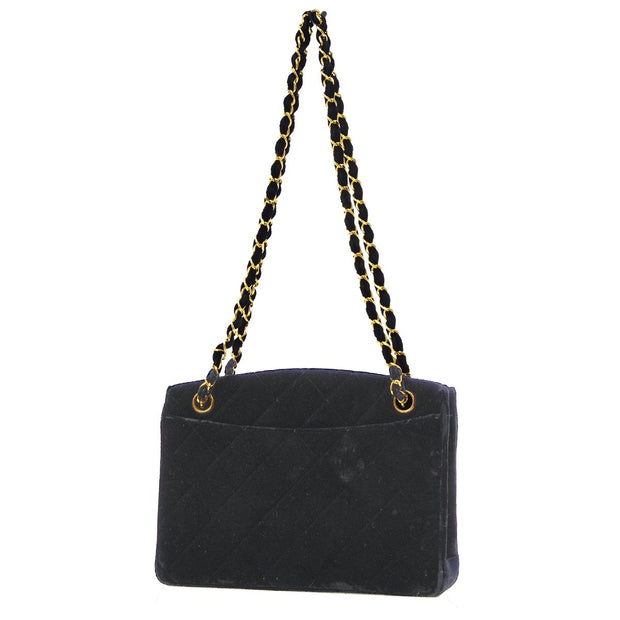 CHANEL Chain Shoulder Tote Bag Black Velvet