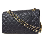 CHANEL Classic Double Flap Medium Shoulder Bag Black Caviar Skin