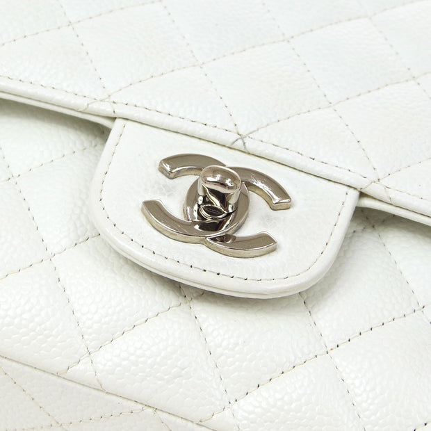 CHANEL Classic Double Flap Medium Chain Shoulder Bag White Caviar