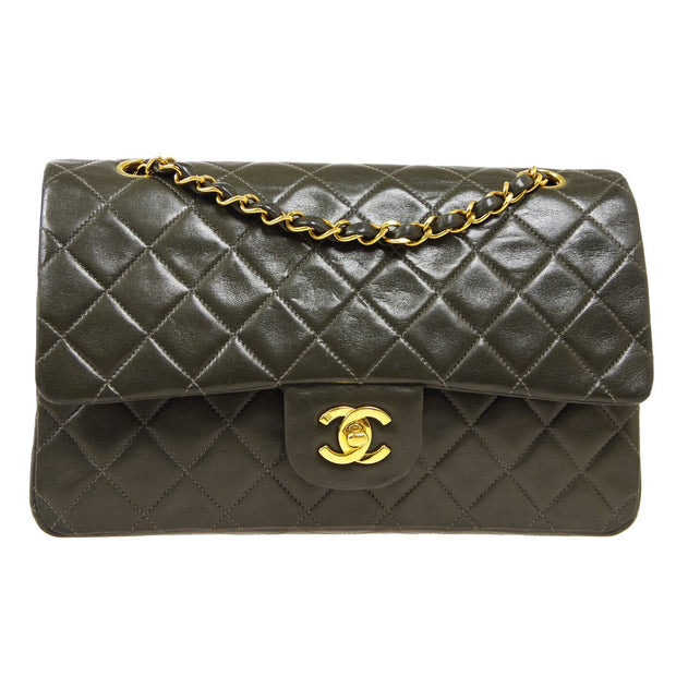 CHANEL Classic Double Flap Medium Chain Shoulder Bag Moss Green