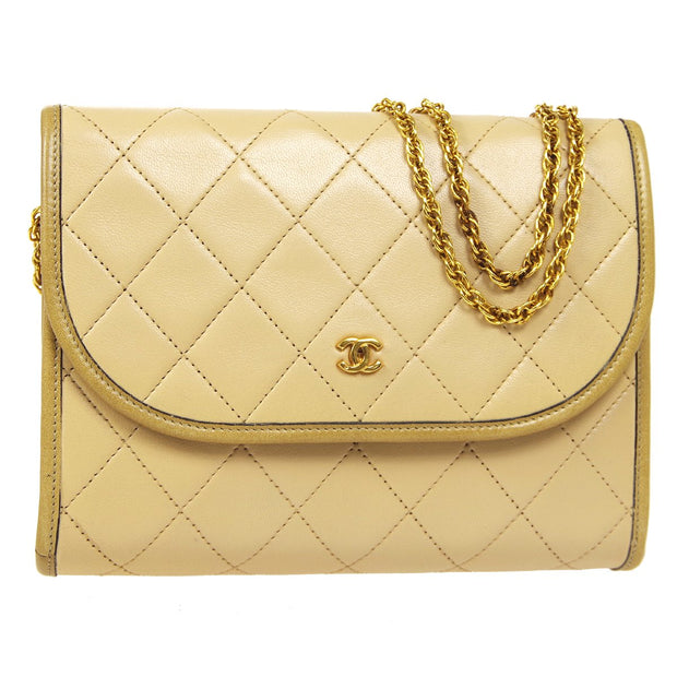 CHANEL Double Chain Shoulder Bag Beige