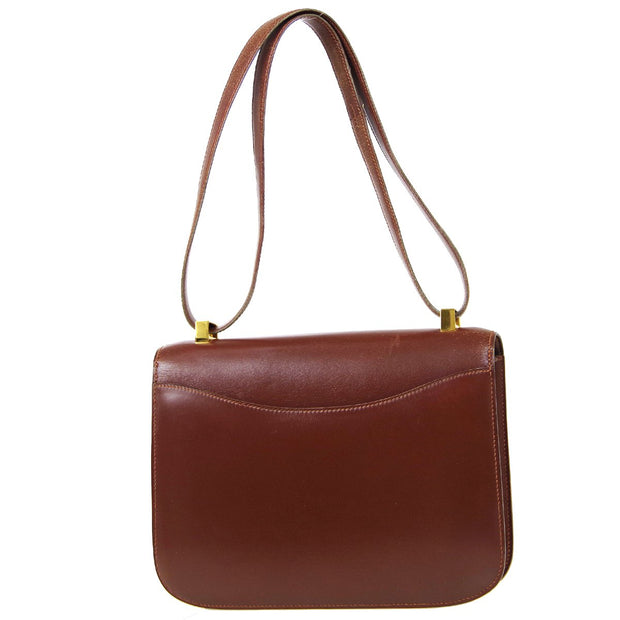 HERMES CONSTANCE 23 Shoulder Bag Brown Box Calf