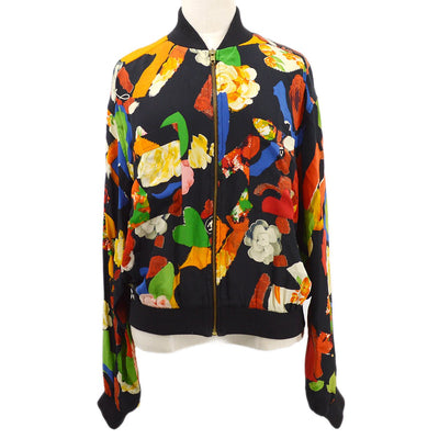 CHANEL Flower Zip Up Jacket Black