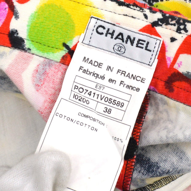 CHANEL Long Pants Black Red #38