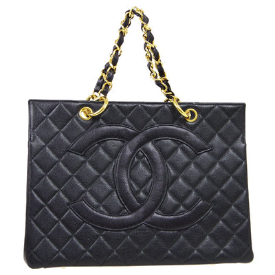 CHANEL Chain Hand Tote Bag Black Caviar Skin