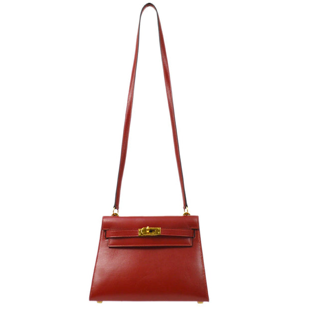 HERMES MINI KELLY 20 Shoulder Bag Rouge H Box Calf