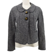 CHANEL 29 #36 Single Breasted Jacket Tweed Black