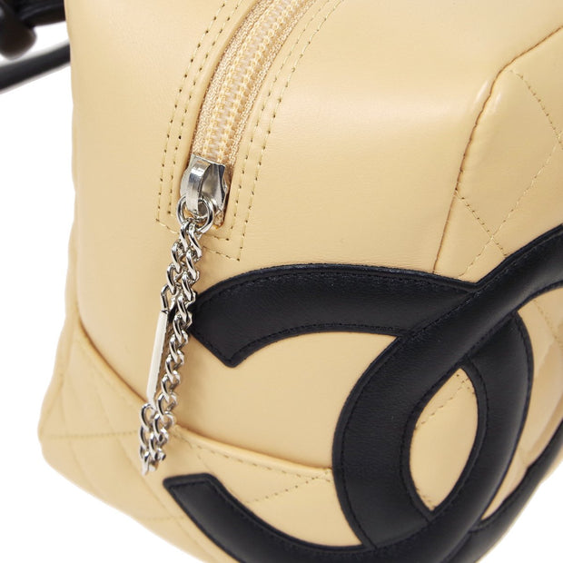 CHANEL Cambon Line Bowling Hand Bag Beige