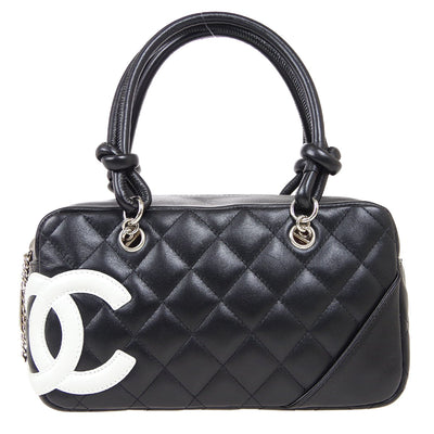 CHANEL Cambon Line Mini Bowling Hand Bag Black