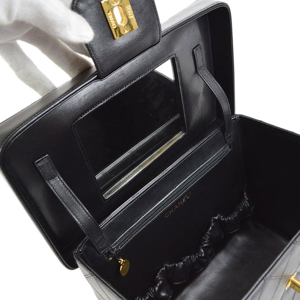 CHANEL 2way Vanity Hand Shoulder Bag Black
