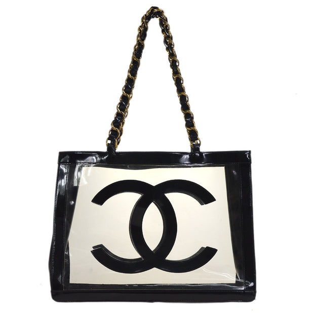 CHANEL Chain Shoulder Tote Bag Clear Vinyl