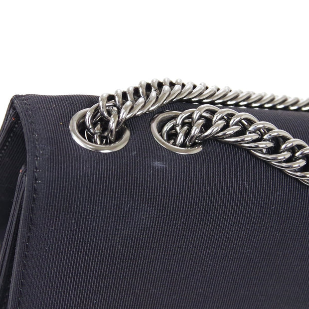 CHANEL Double Chain Shoulder Bag Black Nylon