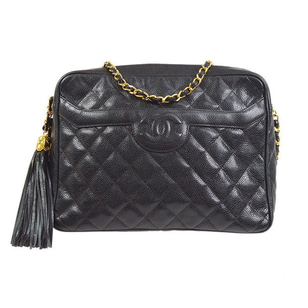 CHANEL Fringe Chain Shoulder Bag Black Caviar