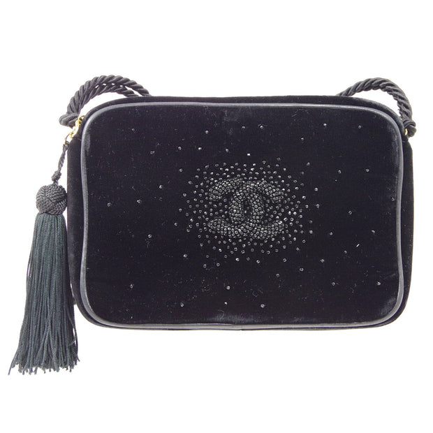 CHANEL Beaded Shoulder Bag Fringe Black Velvet
