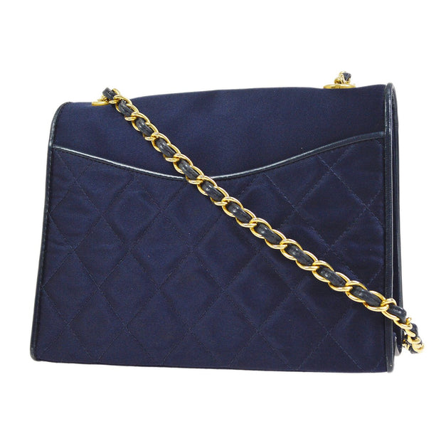 CHANEL Single Chain Shoulder Bag Navy Satin