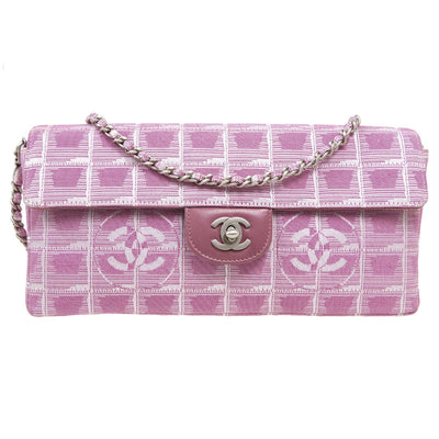 CHANEL Choco Bar Travel Line Chain Shoulder Bag Pink Jacquard