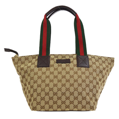 GUCCI GG Shelly Line Hand Tote Bag Beige