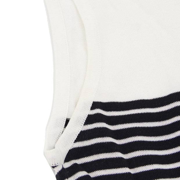 CHANEL #38 Striped Sleeveless Tops Black White