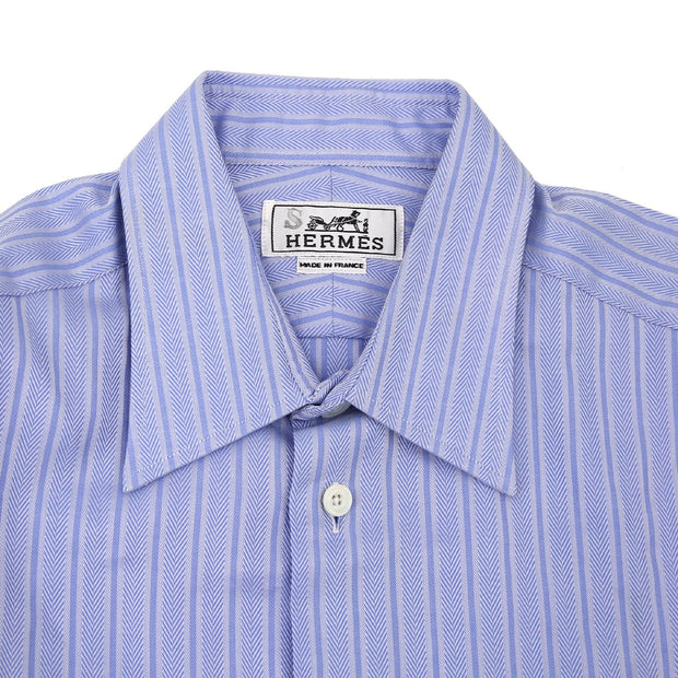 HERMES Stripes Shirts Blouse Light Blue #38