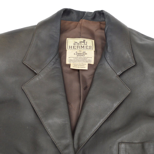 HERMES Jacket Dark Brown Lamb Skin #50