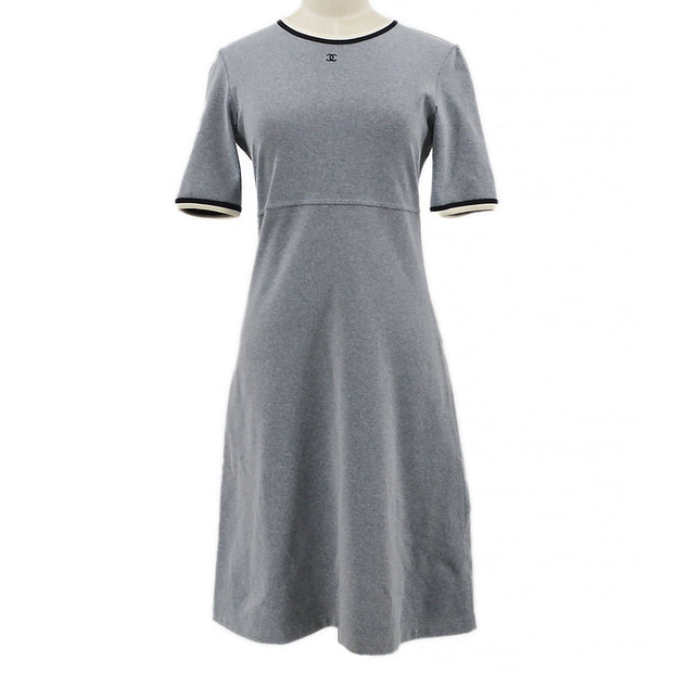 CHANEL 98P #38 One Piece Dress Skirt Gray