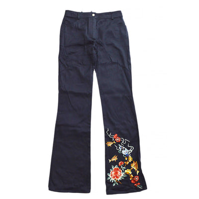 Christian Dior Goldfish Embroidery Long Pants Black