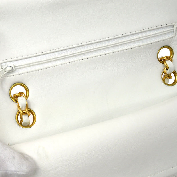 CHANEL Classic Double Flap Small Chain Shoulder Bag White