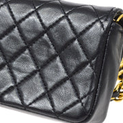 CHANEL Classic Flap Micro Shoulder Bag Pochette Black