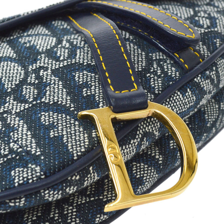 Christian Dior Trotter Saddle Mini Pouch Wallet Coin Case Navy