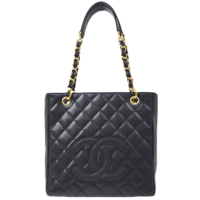 CHANEL PST Petit Shopping Tote Chain Hand Bag Black Caviar Skin