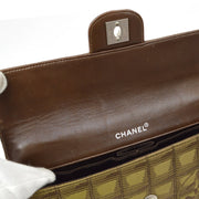 CHANEL Choco Bar Travel Line Chain Shoulder Bag Brown