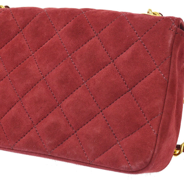 CHANEL Single Chain Shoulder Bag Red Suede