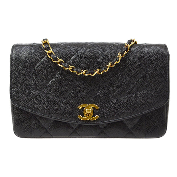 CHANEL Small Diana Chain Shoulder Bag Black Caviar Skin